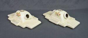 Antique Art Deco Porcelier Porcelain Ceiling Light Fixtures Hand Painted Floral