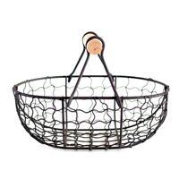 1X(Wooden Handle Metal Retro Basket Portable Multi-Function Vegetable Frui H7S2