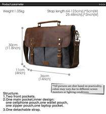 Canvas Genuine Leather Briefcase Tote Laptop Mans Shoulder Messenger Bag Satchel Deep Sea Blue 11435