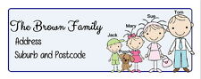 30 Personalised Quality Plus Adhesive Address Labels - Family Fun Stick Figures
