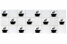 12 x Coffee Cup Tile Transfers To Fit 6 Inch Tiles Kitchen Wall Sign Decal Vinyl