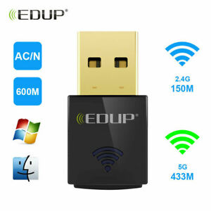 EDUP Wireless USB Wifi Adapter AC600Mbps Dual Band 2.4G/5GHz for PC Laptop 1619