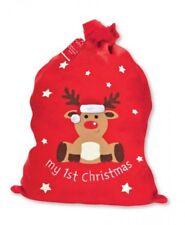 Baby's Primera Navidad Santa Saco 1st Bolsa De Navidad Presente Calcetín Relleno Rudolph