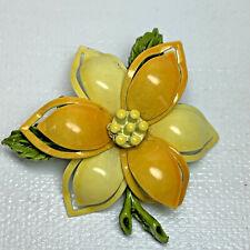 Vintage Yellow Enamel Flower Brooch Pin