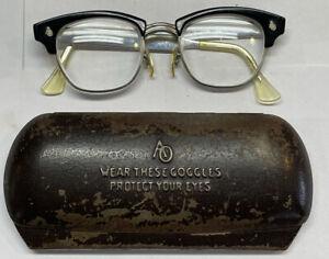 Vintage American Optical Horn Rim/Cat Eye Safety Glasses 4 1/2 + Metal Case