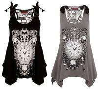 Jawbreaker Deathclock Gothic Death Clock Skull Mesh Back Punk Long Vest Tank Top