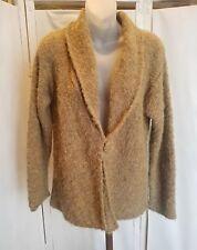 Womens Tabask alpaca cardigan, Peruvian, boucle knit, light brown, size S
