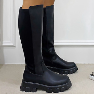 Womens Chunky Sole Knee High Biker Boots Ladies Calf  Stretch Combat Shoe Size