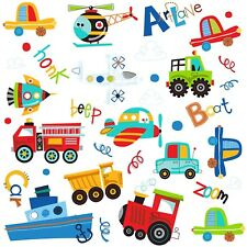 PLANES TRAINS CARS  35 WaLL DeCaLS Boat Airplane Rocket Room Decor Stickers
