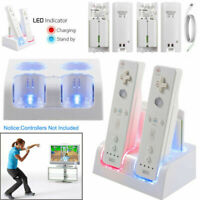 For Nintendo Wii / Wii U Charging Charger Station Dock + 4 Rechargeable Battery