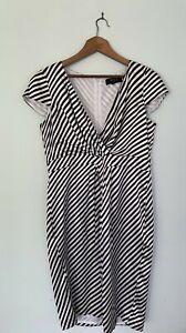 RSVP PERRI CUTTEN v neck capped sleeve black & white stripe silk sheath 16 dress