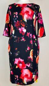 J D Williams Plus Size Black & Bright Floral Stretch Dress from Lorraine Kelly O