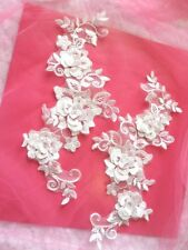 """Sew on 3D Lace Appliques White Floral Embroidered Mirror Pair 10.5""""  (DH65)"""