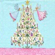 2 Serviettes papier Fées de Noël Decoupage Paper Napkins XMas Fairies