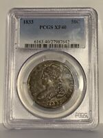 1833 PCGS CERT XF 40 CAPPED BUST HALF DOLLAR