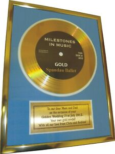 Personalised Framed Gold Record Disc Silver Golden Wedding Anniversary Gift Idea