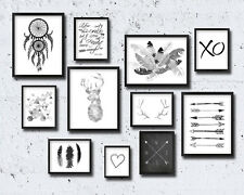 Set of 11 TRIBAL NORDIC GALLERY arrows feathers wall art prints