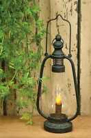 Primitive Farmhouse Black Metal Lantern with LED Timer Candle Rustic Distressed