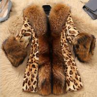 Fashion Women Ladies Faux Collar Leopard Medium Warm Long Coat Jacket