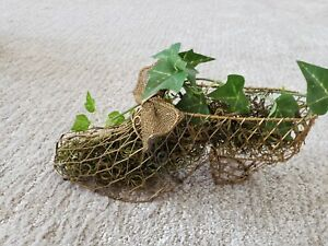 """Vintage St Patrick's Day decoration wire shoe with vintage grass  & Clovers 3x9"""""""