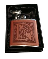 6oz Stainless Steel & Leather Hip Flask - Initial  D