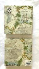 Mesafina Brand Paper Luncheon Napkins 20 count Map Of The World Theme Germany