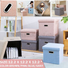 Folding Fabric Ottoman Storage Box Bench Stool Cube Seat Footrest 2Inches