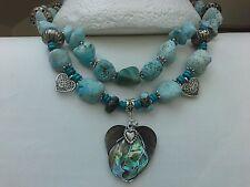 Bohemian Natural TURQUOISE gemstones Abalone shell HEART Big NECKLACE Boho Hippy