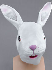 White Rabbit Head Mask Rubber Latex Fancy Dress Easter Bunny Wonderland Alice