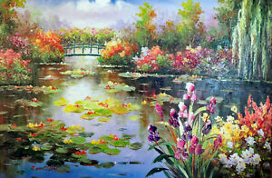 Lily Pond Bright Flowers Trees Monet Repro Landscape Stretched Lge. Oil Painting