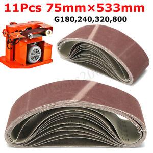 11Stk  Schleifband Gewebe Schleifbänder Wählbar 75mm x 533mm 180 240 320 800  +G