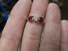 "GORGEOUS LADIES 10K YELLOW GOLD RUBY & LARGE DIAMOND RING BY ""IK"" SIZE 6.75, VGC"