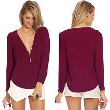 16 Sexy Women Zipper V Tops Shirt Long Sleeve Loose Chiffon Casual Blouse Summer