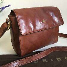 THE BRIDGE CHESTNUT BROWN ITALIAN LEATHER FLAP SMALL SHOULDER CROSS BODY BAG