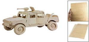 "Armoured Car: ""Fierce Horse"" Jeep Woodcraft Construction Wood 3D Model Kit CX550"