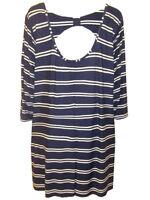 Ladies Plus size Navy Stripe Bow Back Tunic Top by Marina Kaneva SIZE 16 - 32