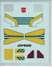 TRANSFORMERS GENERATION 1, G1 AUTOBOT JOYRIDE REPRO LABELS/ STICKERS