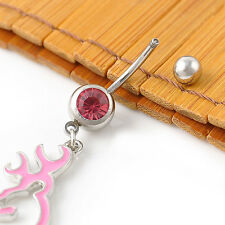 NEW Body Jewelry Piercing 1pcs pink Browning Deer Belly Navel Rings!