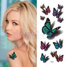 3D Colorate Farfalla Tatuaggi Temporanei Impermeabile Adesivo Arte Carta DB