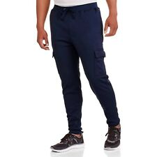 Swiss cross Men's Elastic Waist Solid Fleece Cargo Pant Size Medium NAVY New