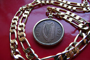 """1971 MENS IRISH LUCKY PENNY & HIGH GRADE 20"""" GOLD FILLED 7mm wide FIGARO Chain"""