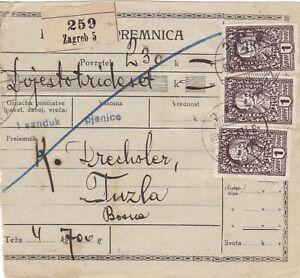 Slowenien, SHS, Kroatien, Bosnien, Jugoslawien, Paketkarte Zagreb 1921