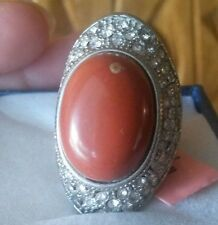 Red Jasper Ring, White Austrian Crystal in Stainless Steel Size 6-FREE Shipping