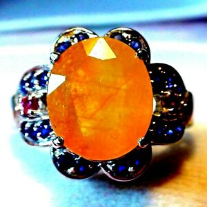 WONDERFUL! BIG! 8.05 ct NATURAL YELLOW SAPPHIRE 925 STERLING SILVER.SIZE 6.0.