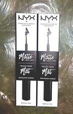 NYX Matte Liquid Eye Liner 2 PACK Water Resistant MLL01 Black NIB Full Size