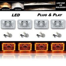 "4X6"" Amber LED Halo Angel Eye Crystal Clear Headlight w/ 6K LED Light Bulb Set"