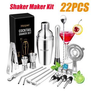 22Pc/Set Cocktail Shaker Bar Set Mixer Making Kit Gift Bartender Stainless Steel
