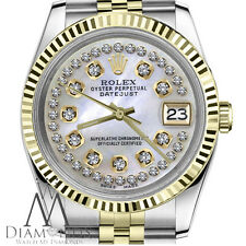String Diamond Rolex 26mm Datejust 18K 2Tone White MOP Mother Of Pearl Jubilee