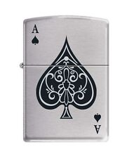 "Zippo ""Vintage Ace of Spades"" Lighter, Brushed Chrome Finish 8897"