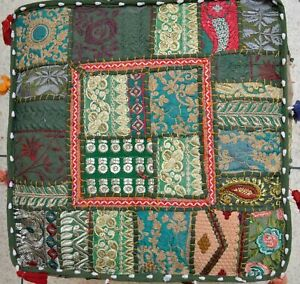 """Indian Vintage Patchwork Ottoman Pouf Moroccan Seat Stool Pillow Cover 16X16"""""""